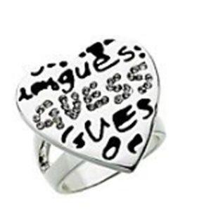 Guess GRAFFITI Rhinestone Heart Ring Size 7 NWT